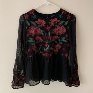 Black Floral Blouse | American Eagle | XS